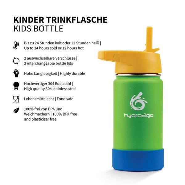 kinder trinkflasche strohhalm grün