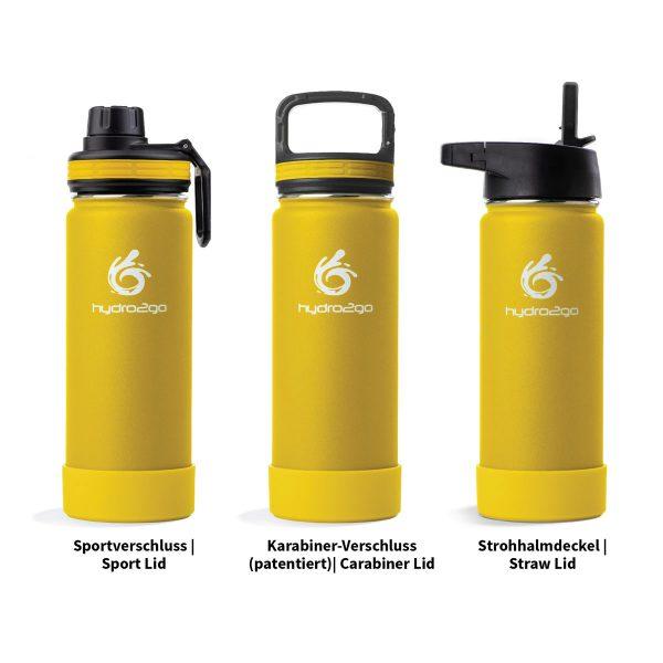 edelstahl trinkflasche gelb