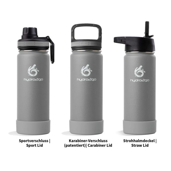 stainless steel drinking bottle gray