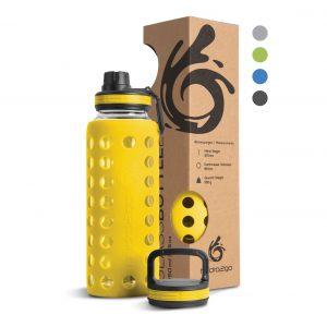 glas trinkflasche 1l gelb