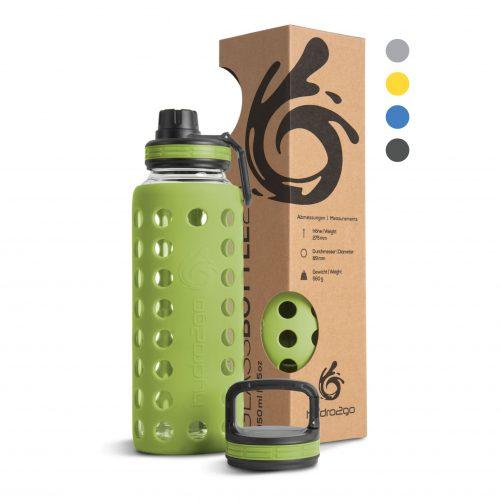 glas trinkflasche 1l grün