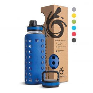 glas trinkflasche blau 1000ml