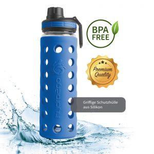 glas trinkflasche bpa-frei blau