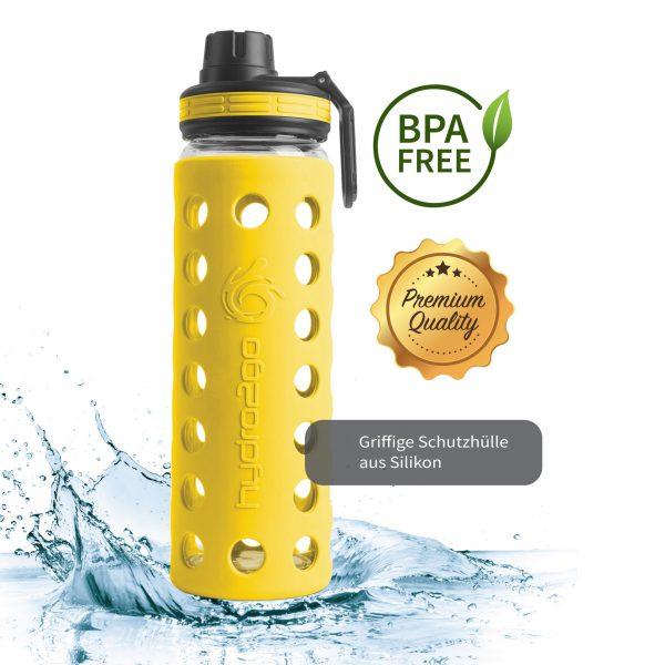 glas trinkflasche bpa-frei gelb