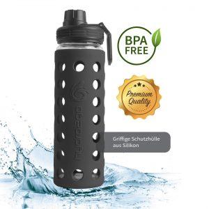 glas trinkflasche bpa-frei schwarz