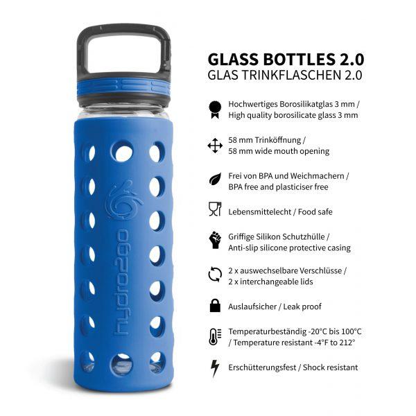 glas trinkflasche schutzhülle blau