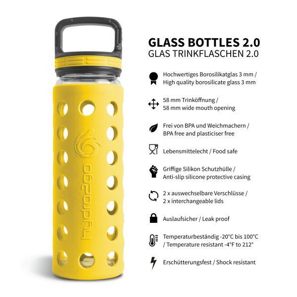 glas trinkflasche schutzhülle gelb