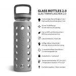 glas trinkflasche schutzhülle grau
