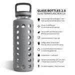 glas trinkflasche silikon 1l grau