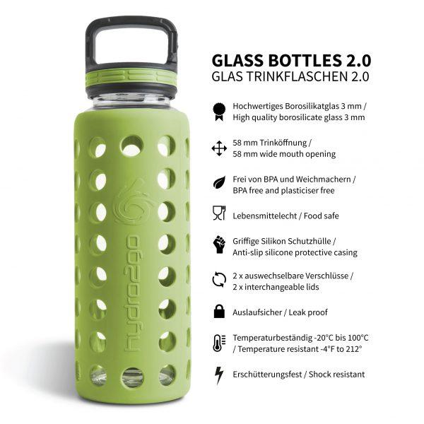 glas trinkflasche silikon 1l grün
