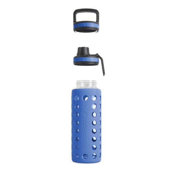 glas trinkflasche sodastream blau