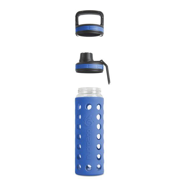 glas wasserflasche blau