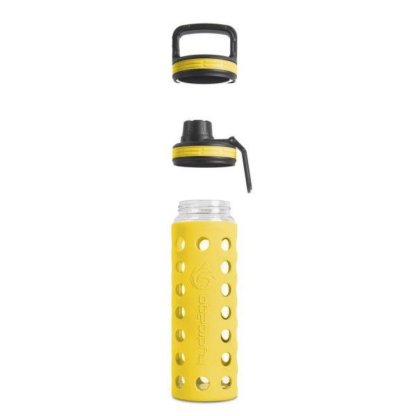 glas wasserflasche gelb