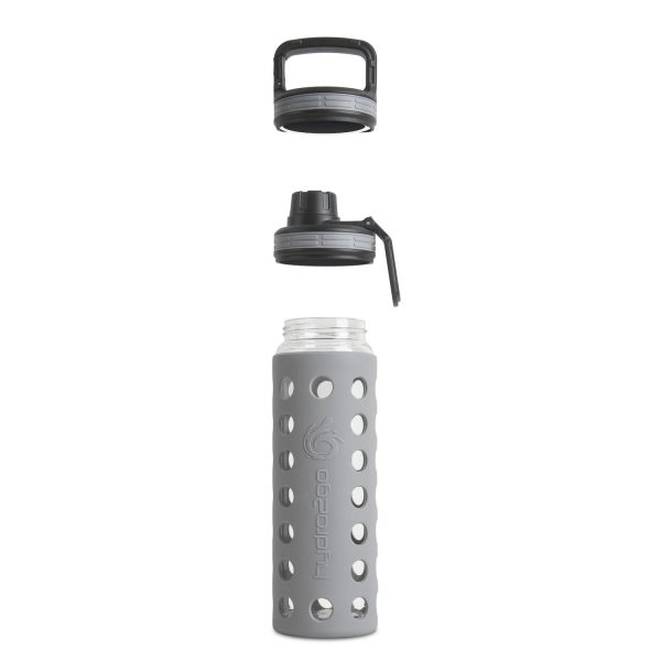 glas wasserflasche grau