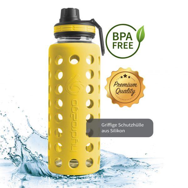 trinkflasche aus glas 1000ml gelb
