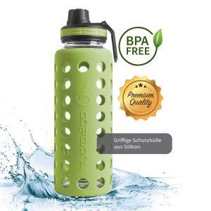 trinkflasche aus glas 1000ml grün