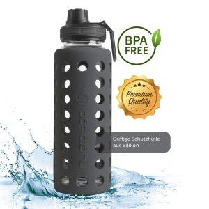 trinkflasche aus glas 1000ml schwarz
