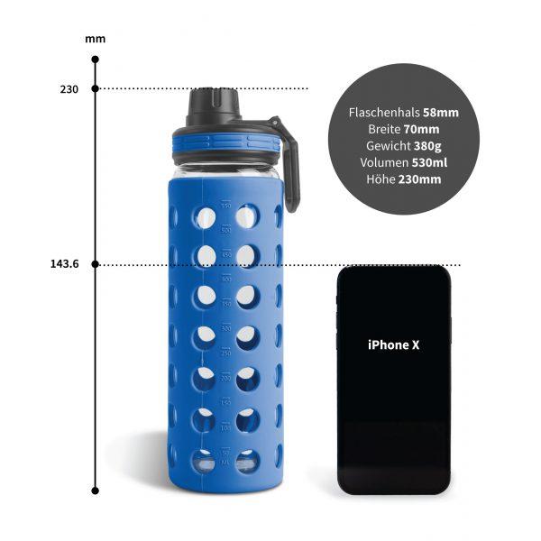 trinkflasche glas 500ml blau