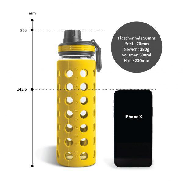 trinkflasche glas 500ml gelb