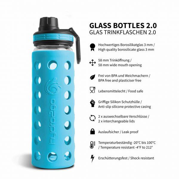 glas trinkflasche 550ml coral blue