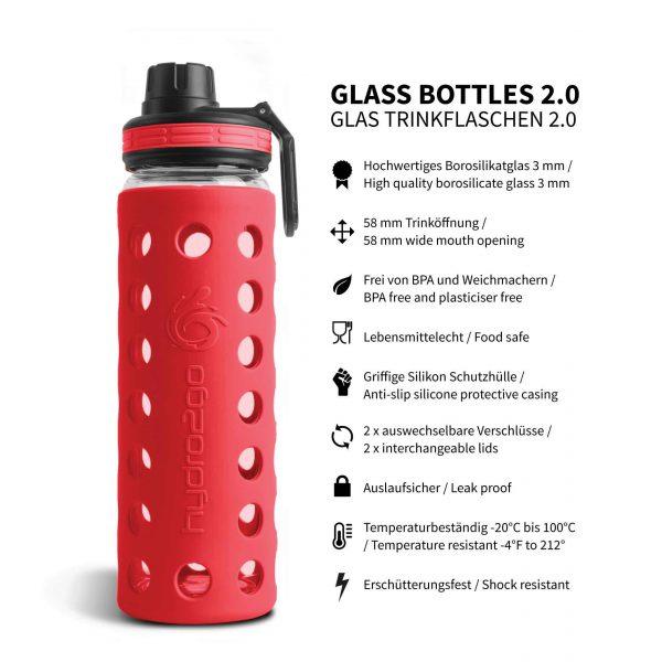 trinkflasche glas silikonhülle rot