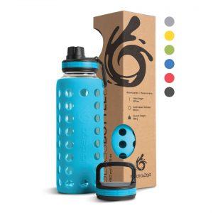 glas trinkflasche korallblau 1000ml