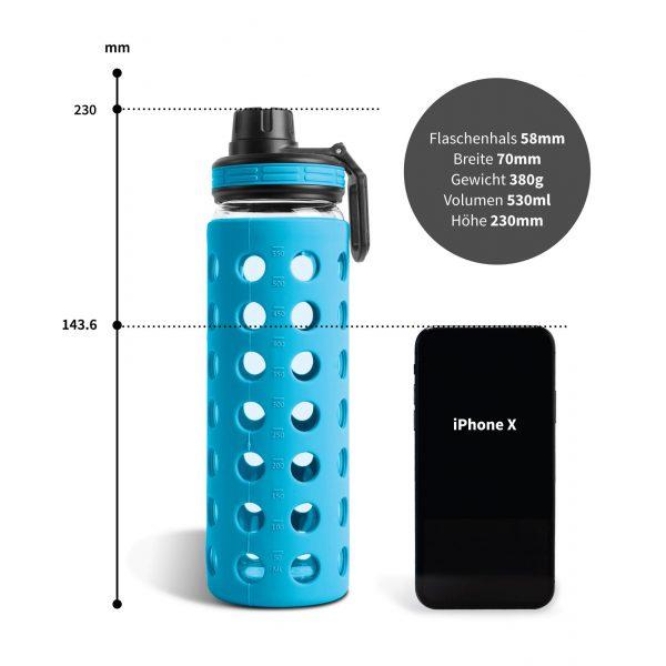 glasflasche trinkflasche coral blue 550ml