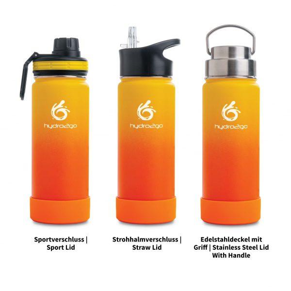 trinkflasche edelstahl orange gelb