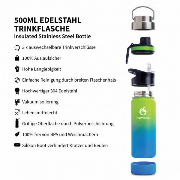 trinkflasche sport 500ml blau grün