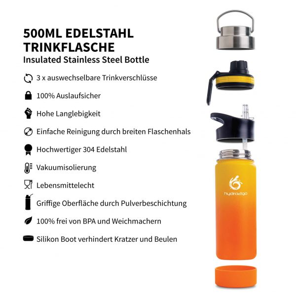 trinkflasche sport 500ml orange gelb