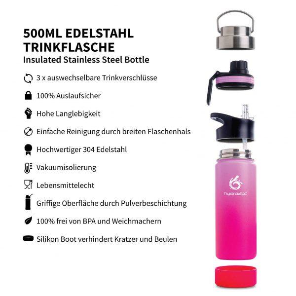 trinkflasche sport 500ml rosa lila